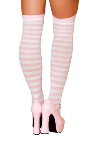 Pink and White Horizontal Striped Knee Highs Hosiery Nylons Stockings ST4421