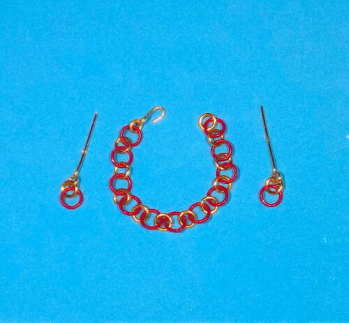 """Barbie Dreamz RED WINE /& GOLD HOOP RINGS w// ERs Choker Necklace 11/"""" Doll Jewelry"""