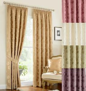 Image Is Loading Vintage Linby Pencil Pleat Lined Curtains Green Gold