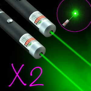 2x-Focus-Powerful-Military-5mW-532nm-Green-Laser-Pointer-Pen-Beam-Light-Visible