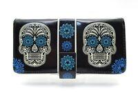 Shagwear Wallet Cream & Blue Sugar Skull On Black Snap Tab Zippered Wallet