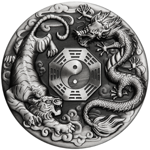 Tuvalu-2021-Dragon-amp-Tiger-Bagua-2-Oz-Pure-Silver-High-Relief-Antiqued-Piedfort