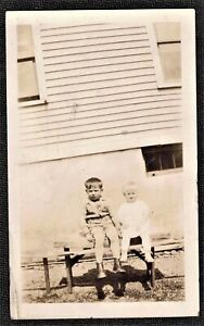 Antique Vintage Photograph Two Cute Little Children Sitting on a Bench
