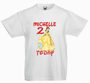 3ca20ddd Image is loading CHILDRENS-KIDS-T-SHIRT-BIRTHDAY-AGE-PERSONALISED-BELLE-