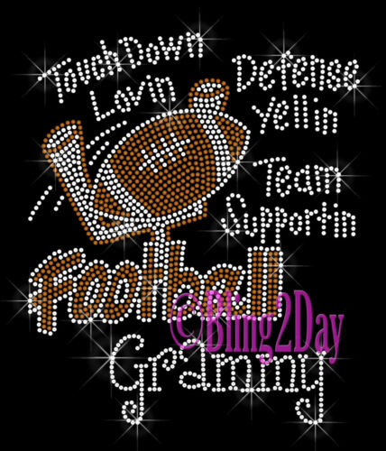 Touch Down Sports Iron on Rhinestone Transfer Hot Fix Bling Football Aunt