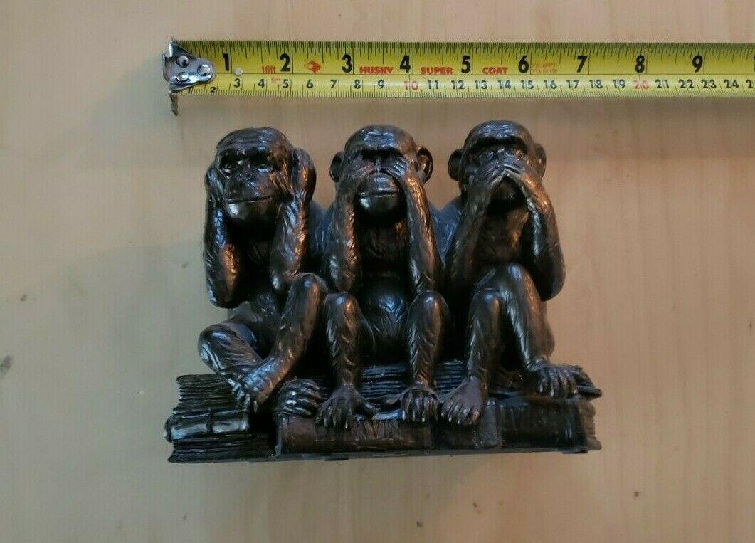 Solid  Bronze See No Evil  Seated Monkey Figure Statue
