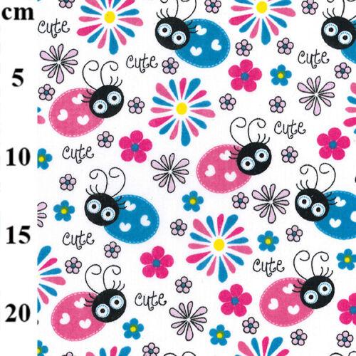 Tela Polycotton Lindo Amor Bugs colorido 44 Pulgadas//110cm medio metros Niños Diversión