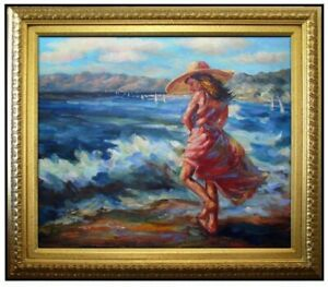 Framed-Quality-Hand-Painted-Oil-Painting-Girl-Playing-on-Beach-20x24in