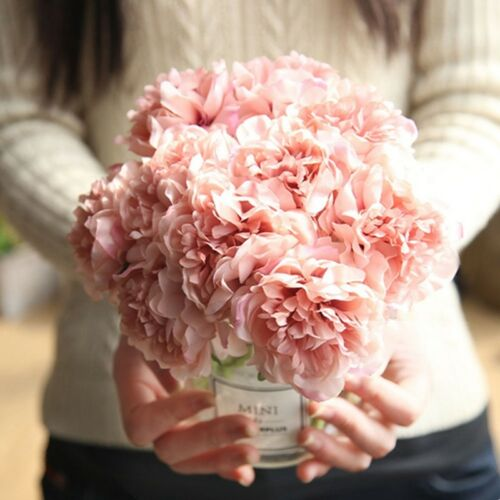 28cm 5 Heads Bunch Artifical Peony Silk Flower Hydrangea Wedding Decor Charm @sh