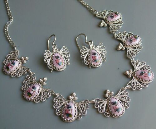 Necklace & Dangle Earrings FILIGREE & FINIFT Enamel Pink Floral, Sterling Silver