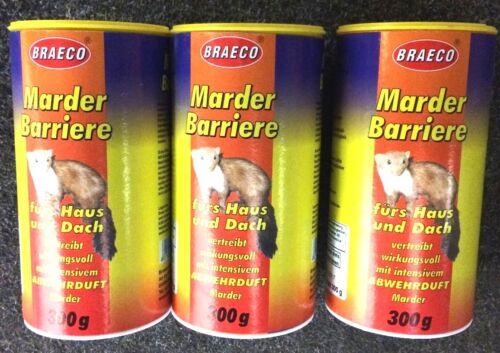 PROFI MARDER REPELLENT 3x 300g BRAECO Marderschreck Tierabwehr Fernhaltemittel