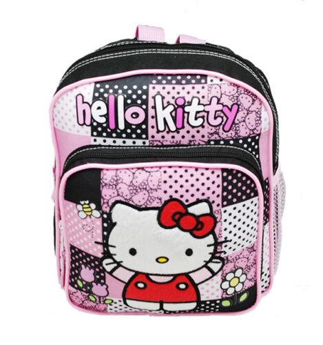"Sanrio Hello Kitty Fullbody Flowers 10/"" Canvas Black Grils Mini School Backpack"