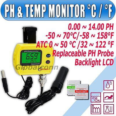 Digital PH Meter Monitor Replaceable Probe °C/°F Temperature ATC separate Sensor