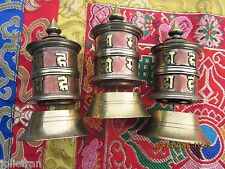 "COPPER & BRASS OM MANTRA 3 1/2"" TABLE TOP ROTATING PRAYER WHEEL TIBETAN BUDDHIST"