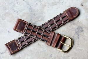 Net-pattern-distressed-leather-amp-nylon-cord-18mm-vintage-watch-strap-1960s-NOS