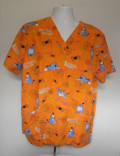 Disney Halloween Eeyore Scrub Shirt Womens Large O