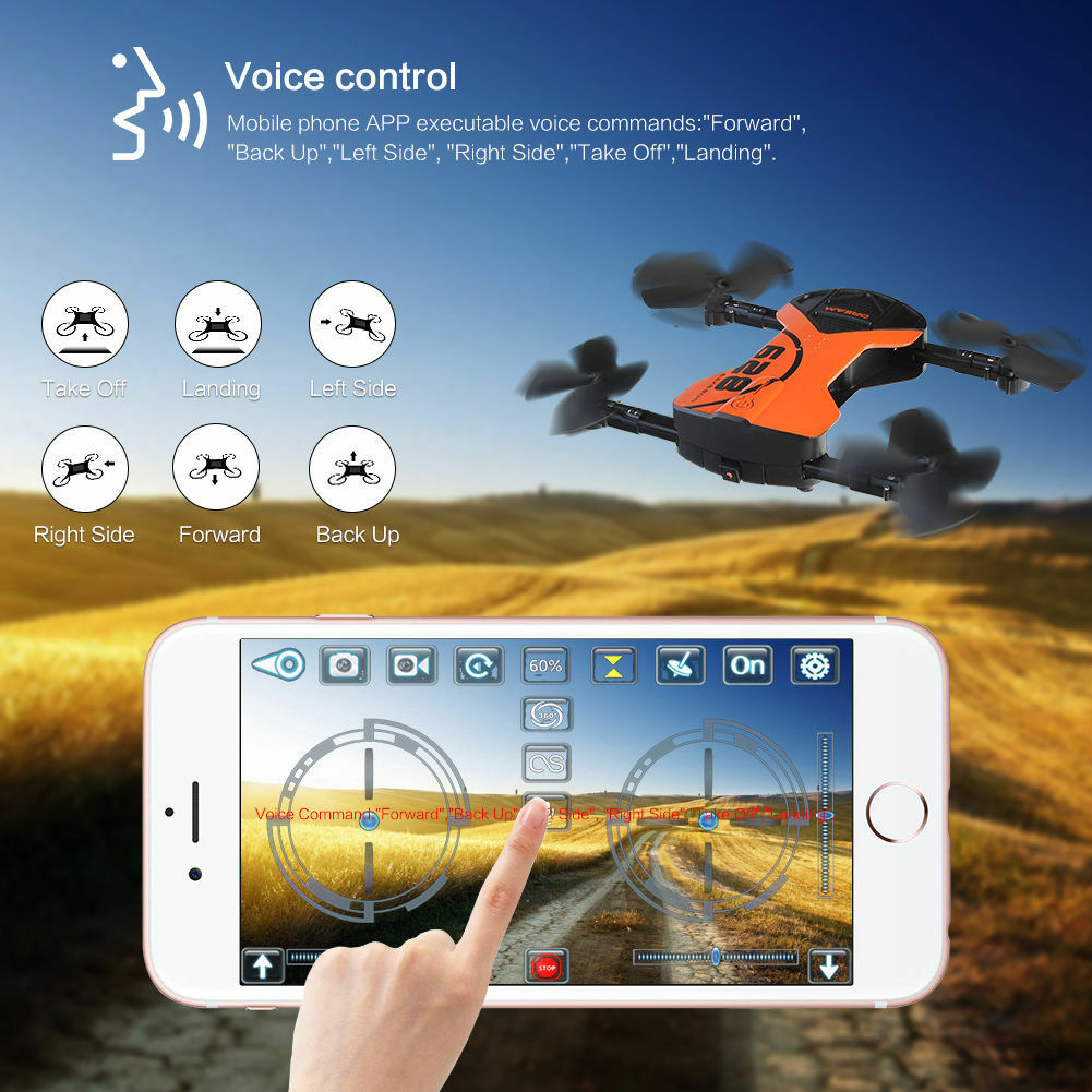 Foldable RC Drone Wifi HD Camera Voice Control Headless Headless Headless Mode Quadcopter 6-Axis ed62f4