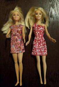 Barbie Doll Doggy Daycare Blonde & 2009 Blonde Barbie Doll Fashionista Pink Dres