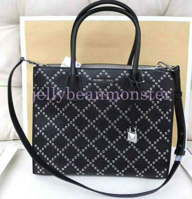 feebe22ab4dce1 MICHAEL KORS STUDIO Mercer Stud Grommet Leather L Convertible Tote Bag Black  NEW