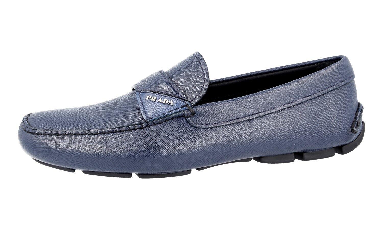 LUSSO PRADA Loafer SAFFIANO Slipper Scarpe Loafer PRADA 2dd125 BLU NUOVO NEW 9,5 43,5 44 85da34