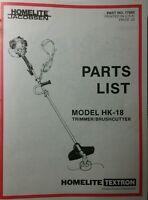 Homelite Gas String Trimmer Hk-18 Parts Manual 8p Weedwacker Line Brushcutter