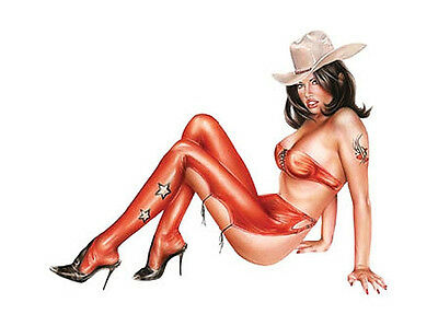 SEXY BRUNETTE TEXAS COWGIRL in RED PIN-UP GIRL VINYL STICKER/DECAL By Sonia Roji