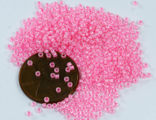 15//0 Round TOHO Japanese Glass Seed Beads #379 Crystal//Cotton Candy Lined 10g