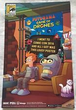 FUTURAMA GAME OF DRONES 11x17 Original Promo TV Game Poster SDCC 2016 XXXX/2000
