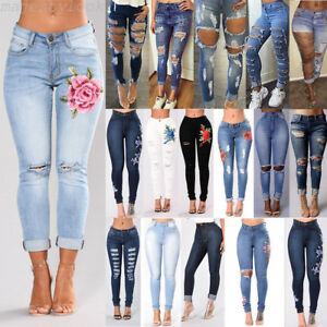 Women-Ripped-Knee-Jeans-Pants-Denim-Stretch-Trousers-Skinny-Elastic-Jeggings-Lot