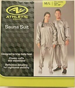 """Athletic Adult Sauna Suit M/L Fits Waist Sizes 30"""" - 38"""" $17.87 FREE SHIPPING"""