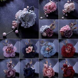 Fashion-Flowers-Crystal-Pearl-Wedding-Brooch-Pin-Hairpin-Collar-Costume-Jewelry