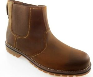 b6ddc725ac55 TIMBERLAND A13HZ LARCHMONT CHELSEA MEN S BROWN LEATHER PULL ON BOOTS ...