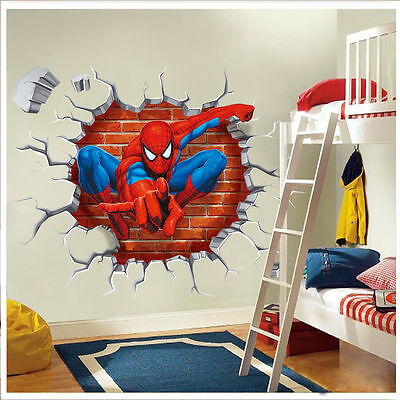 3D Spider man kids room decor boy gift Wall sticker wall decals Nursery Mural