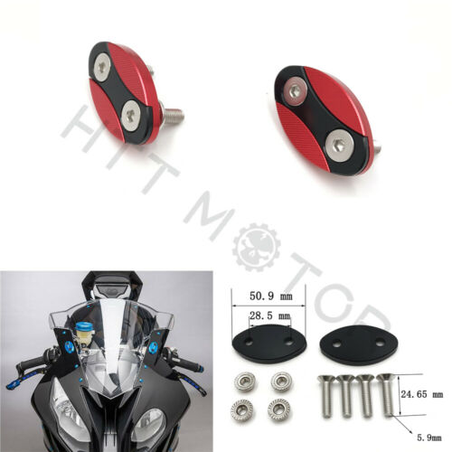 Red Mirror Block Off Plates Mirror Cover Caps w//6mm for 13-18 17 BMW S1000RR