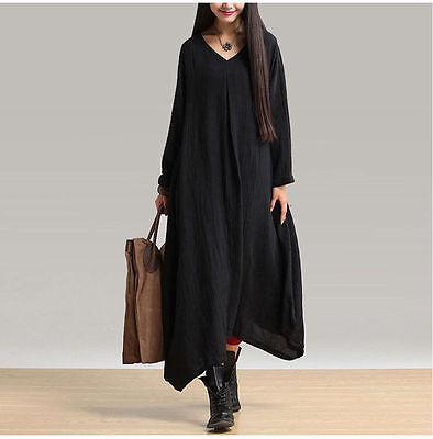 Vintage Womens Boho Long Sleeve Blouse Casual Maxi Loose Cotton Linen Soft Dress