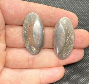 Vintage-Sterling-Silver-925-Ornate-Etched-Chunky-Pierced-Earrings-9-2g