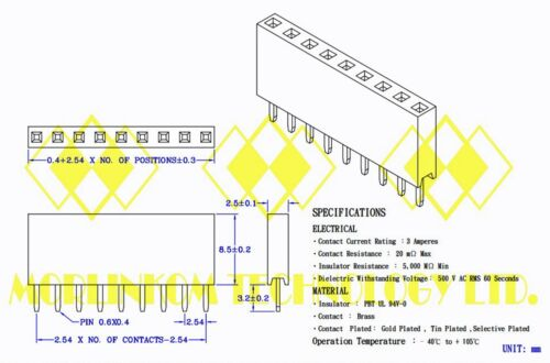50pc Pin Female Header Pitch= 2.54mm H=8.5mm Straight type 1x6p 1x6 6p RoHS