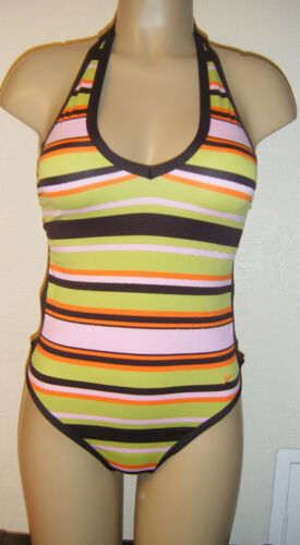 SPEEDO MIRROR SWIMSUIT SIZE 30 8 32 10 34 12 HIGH LEG MONOKINI STRIPE HALTER NEW