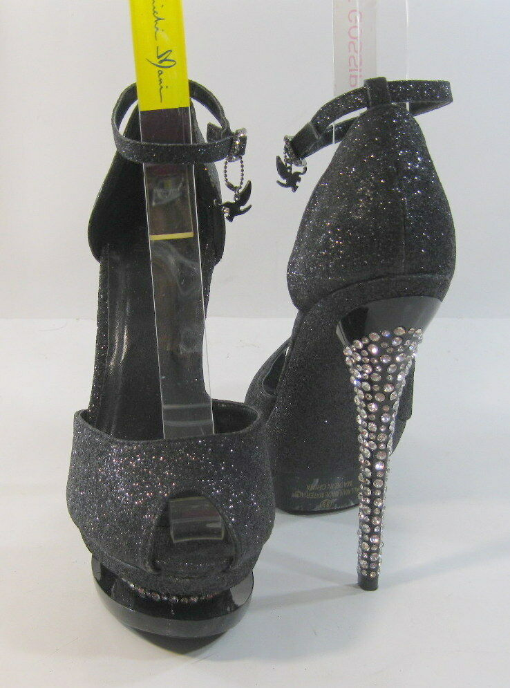 """All Star Black Glitter 6""""High Heel 2""""Platform Ankle Strap Sexy Shoes Size 7.5"""