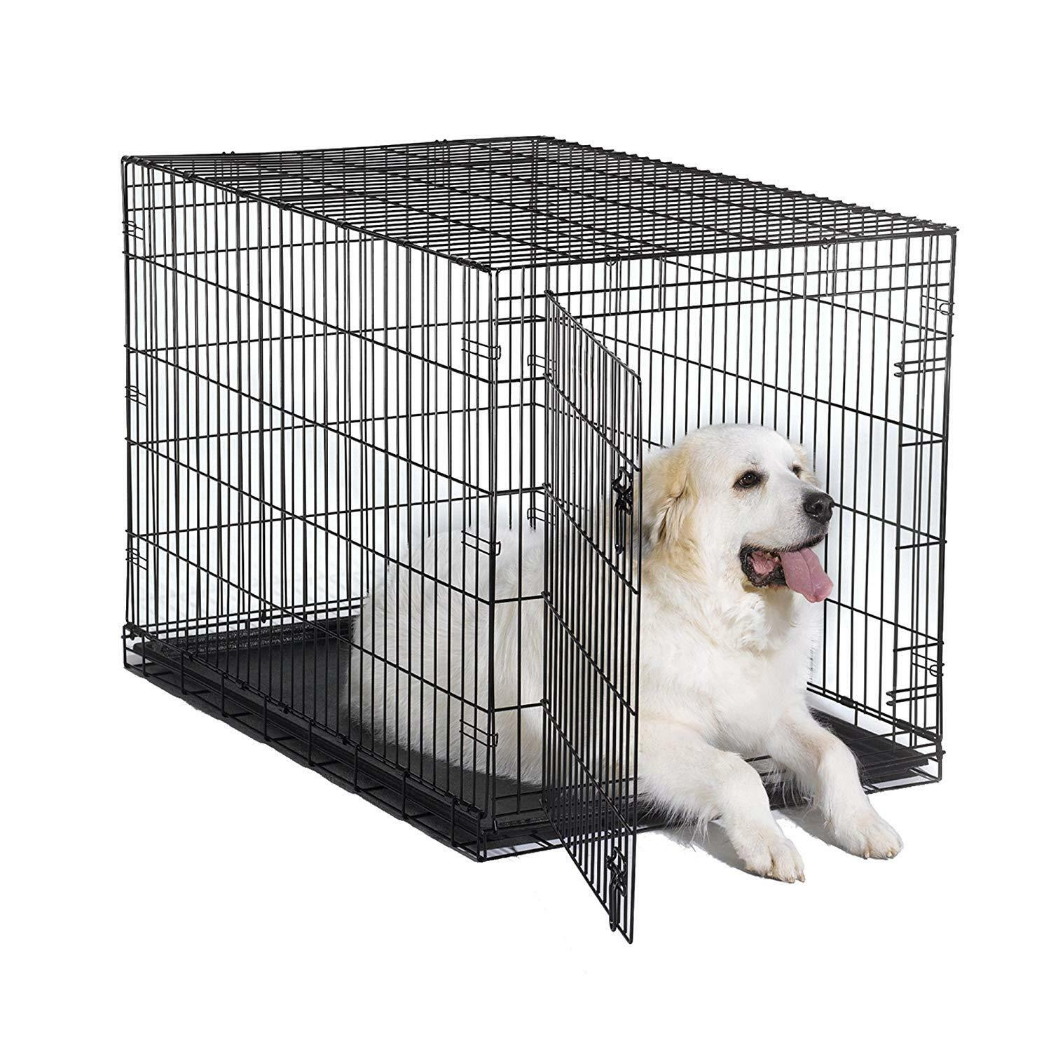 Dog Folding Crate Kennel Small Extra Large Dog Single Door Training Metal 48