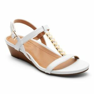 07116a12951 Vionic Women Cali White T Strap Leather Gold Hardware Sandals Wedge ...