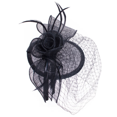 Lawliet Womens Black Sinamay Fascinator Derby Hat Feather Veil Royal Ascot T315