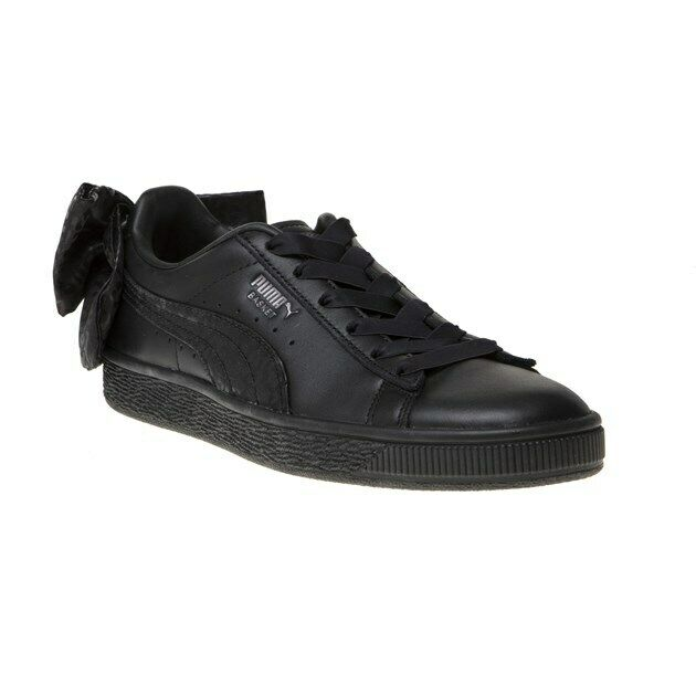 New Womens Puma Black Basket Bow Leather Trainers Court Lace Up