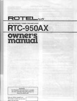 Rotel Rtc-950-ax Tuner Owners Manual