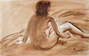 Robert Savary Peinture Originale Lavis Nu 50 Ebay