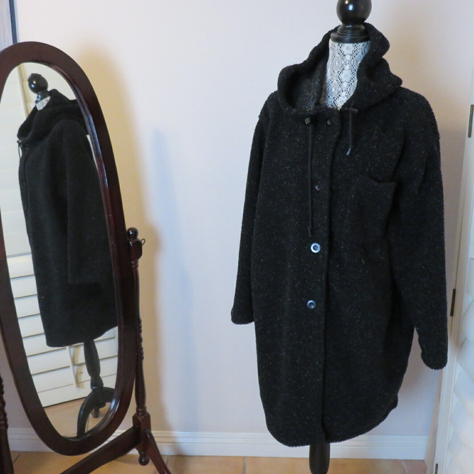 Roaman's M Fleecy Hooded Pockets Duffel Coat Wome… - image 1