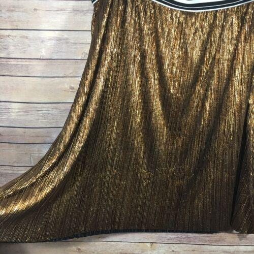 AVA /& VIV Women/'s Plus Pleated Skirt A-Line Metallic Copper Elastic Waist 4X NWT
