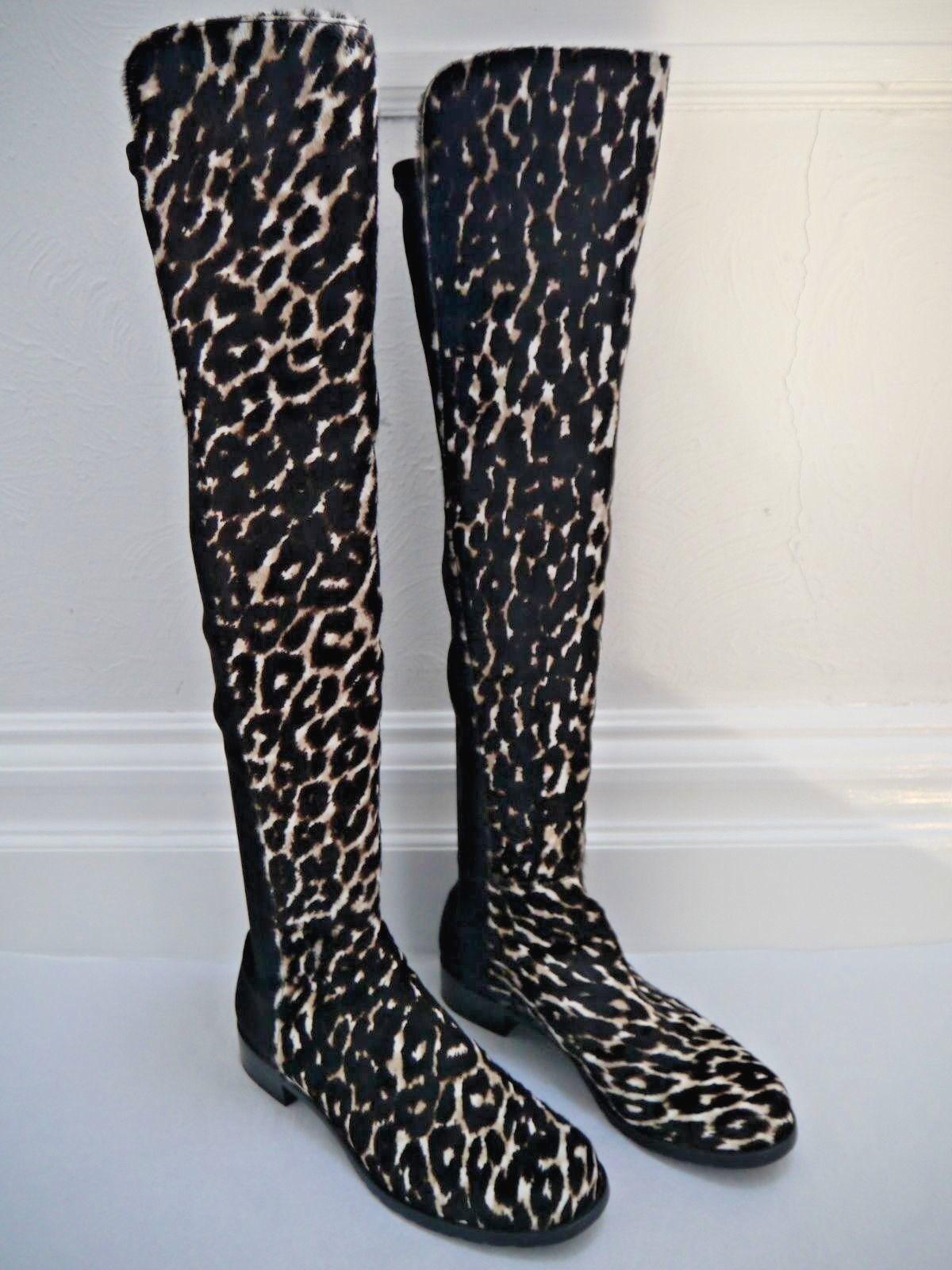 STUART WEITZMAN 5050 leopard calf hair over the knee OTK boots size 9 WORN ONCE