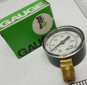 Dial-Pressure-Gauge-2-034-Black-Steel-Case-Bottom-Mount-1-4-034-NPT-300PSI-2000-kPa