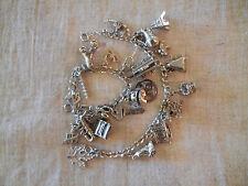 2 Sterling silver vintage charm bracelets - 23 charms total - Excellent cond.